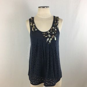 Anthropologie- Deletta Blue Beaded Perforated Top